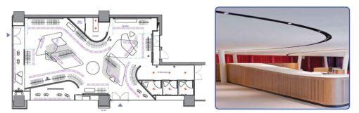 Shanghai. Dazzle Store. Il lighting concept, con i tagli architettonici curvilinei a scomparsa che celano le sorgenti luminose courtesy: Rossi Lighting