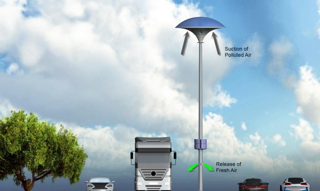 Un lampione a led fotovoltaico per pulire laria luce e design