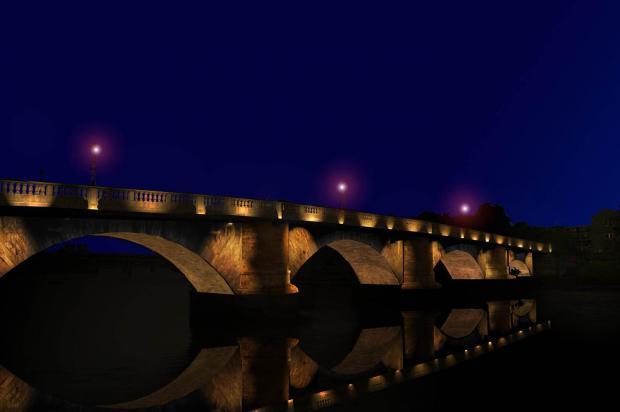 Come dovrebbe apparire il Ponte dopo la messa in opera del nuovo progetto di illuminazione