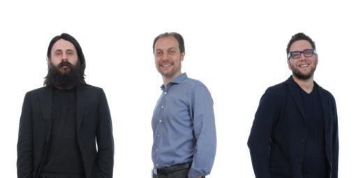 Gli architetti Simone Gheduzzi, Nicola Rimondi, Gabriele Sorichetti di diverserighestudio