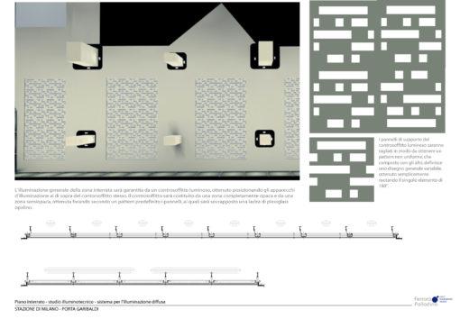 Intervento del 2006. Studio del pattern individuato per i pannelli di supporto dell'illuminazione (courtesy: Studio Ferrara – Palladino)