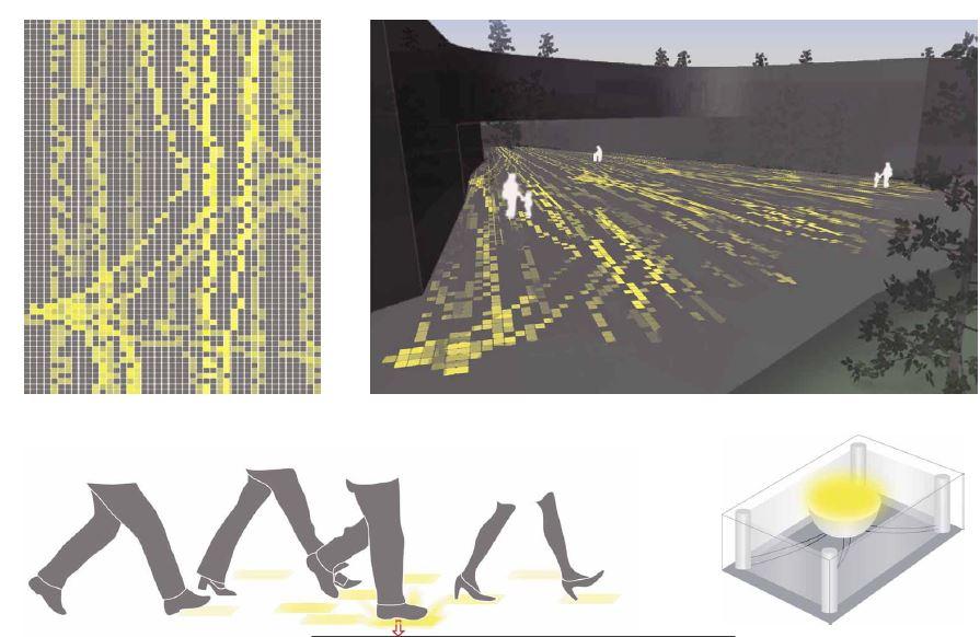 """Alcuni studi dei concept di progetto per """"The Digital Mile"""". La luce LED per pavimenti pedonali reattivi con effetto memoria"""