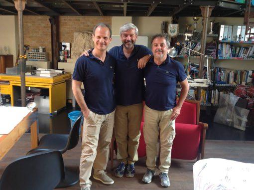 Da sx, Marco Lucarelli, Maurizio Pagnussat e Riccardo Bocchini in uno degli incontri preparatori nello studio di Bocchini per il Festival 2016 (courtesy photo: Riccardo Bocchini architetto)