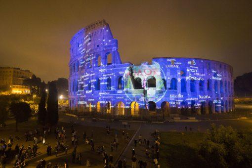 Roma, Messaggi di Luce al Colosseo, 11-13 maggio 2016. Il messaggio di AMORE universale, per la Natura, per la Terra e per l'Umanità che chiude lo spettacolo (cortesia photo: Motoko Ishii Lighting Design & I.C.O.N.)