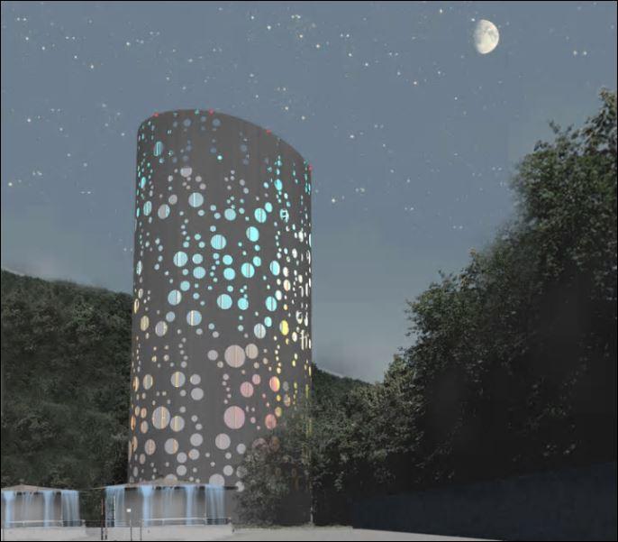 Il progetto di lighting design per la torre di accumulo dell'impianto di teleriscaldamento di Bolzano (courtesy: