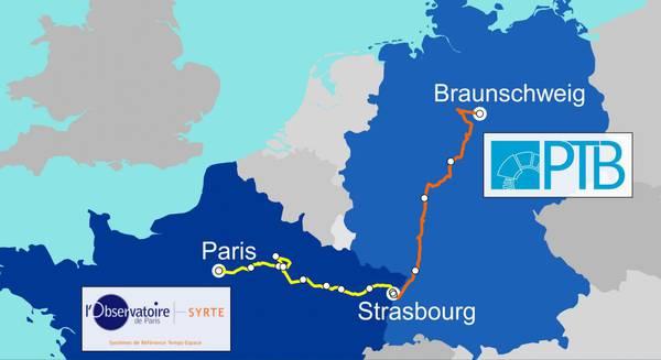 Mappa del primo collegamento in fibra ottica fra l'orologio atomico dell'Oservatorio LNE-Syrte di Parigi e quello del PTB di Braunschweig, attraverso il nodo di Strasburgo (fonte: PTB)