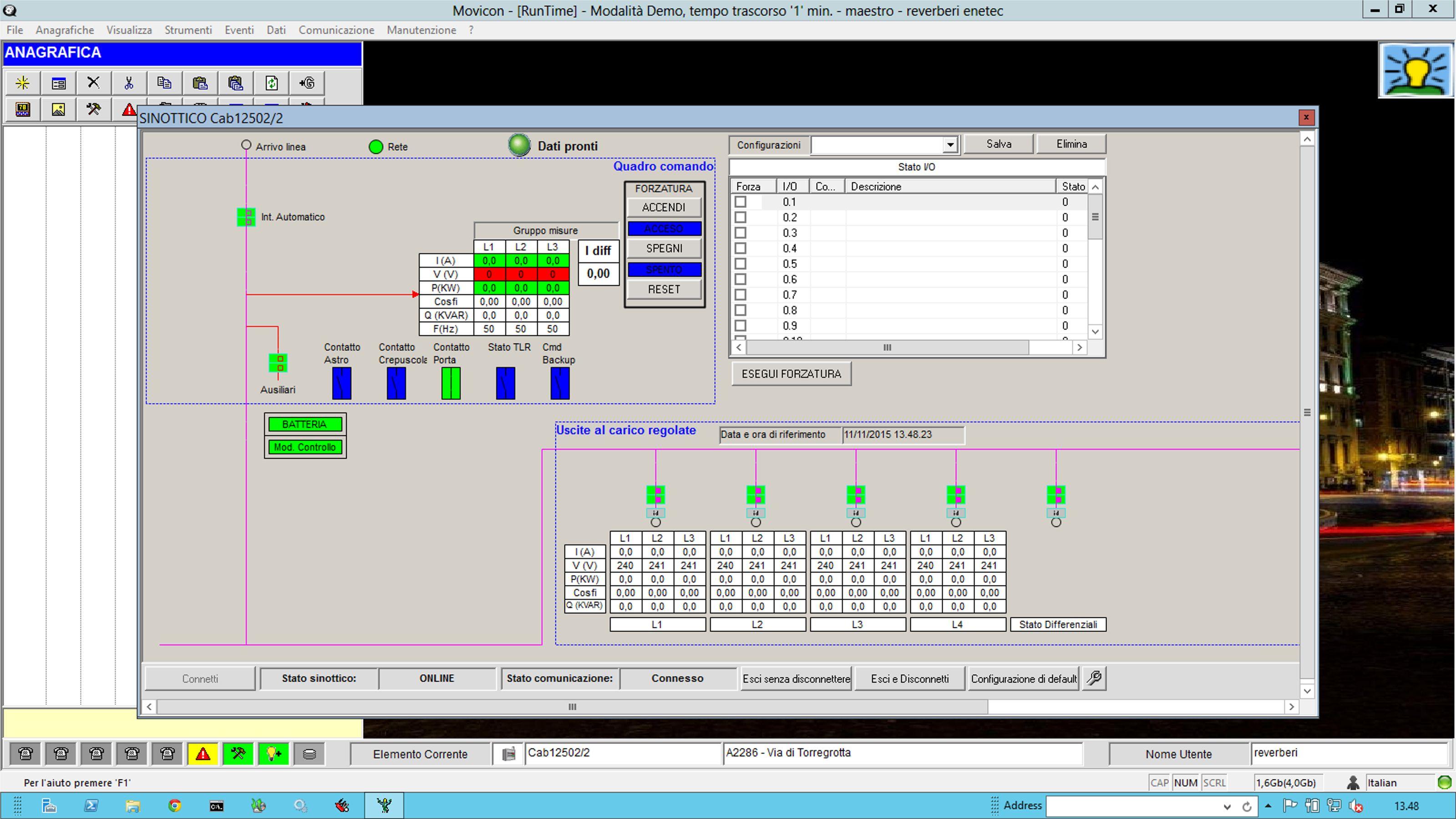 """Software """"Maestro"""". Schermata esempio con esempio grafici energia e potenza da contatori (Z)"""