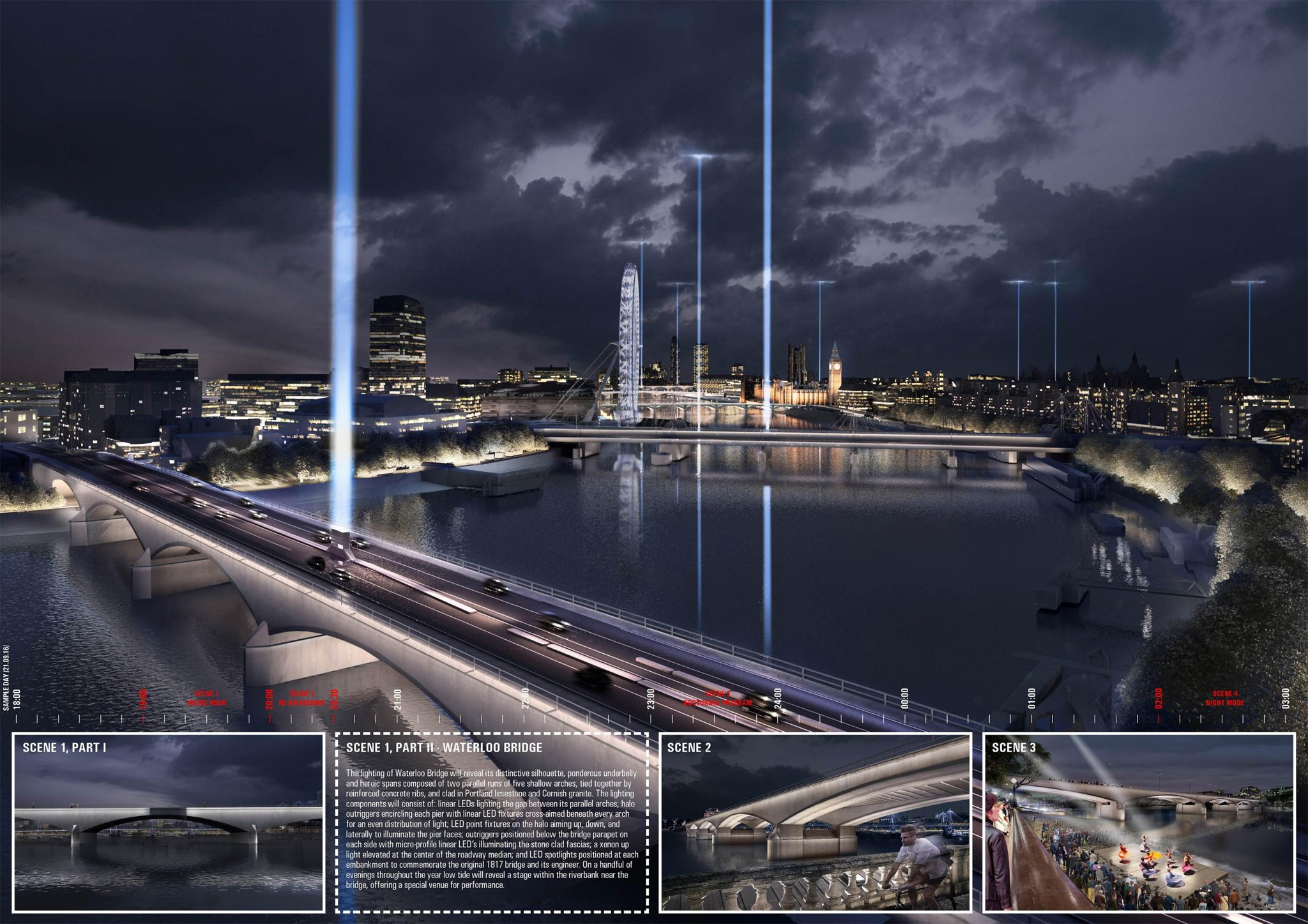 Synchronizing the City: Its Natural and Urban Rhythms (Diller Scofidio + Renfro with Oliver Beer, Arup, Copper Consultancy, L'Observatoire International, Penoyre & Prasad, Jennifer Tipton and Transsolar ) (courtesy: The Illuminated River)