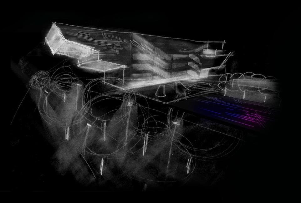 Immerso nella luce nelle pareti laterali per rivelare la consistenza della superficie irregolare in zinco e creare un contrasto contro la luce proveniente dall'interno. I LED integrati lineari sono utilizzati nel corpo dell'edificio emergente fuori terra e nella facciata posteriore con particolare attenzione ad evitare l'inquinamento luminoso