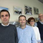 Il team di progettazione di Almeco Group, da sinistra verso destra: Luca Lottaroli, Optical Design & Engineering, Daniele Repossi, Manufacturing Engineering Manager, Annunziata Abbatangelo, Optical Design & Engineering e Jacopo Mori, Group Engineering and New Projects Manager)