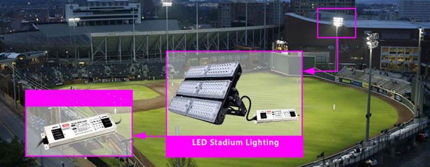 Driver LED Meanwell serie HLG: un'applicazione tipica nell'ambito dell'illuminazione degli stadi (cortesia: Digimax)